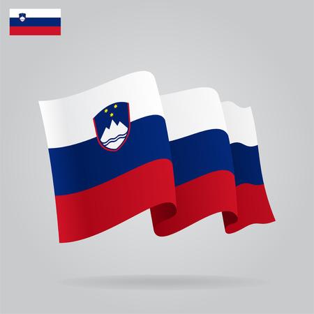 slovenian: Flat and waving Slovenian Flag. Vector Illustration