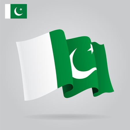 waving flag: Flat and waving Pakistani Flag. Vector Illustration