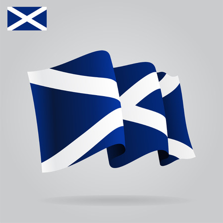 scottish flag: Piatto e sventolando la bandiera scozzese. Vettore