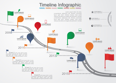 on time: Timeline Infographic template with icons. Vector Illustration