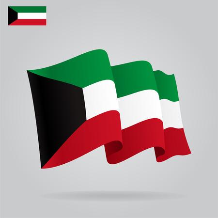 kuwait: Flat and waving Kuwait Flag. Vector