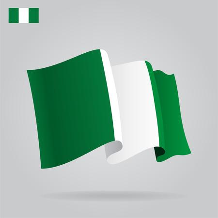 nigerian: Flat and waving Nigerian Flag. Vector