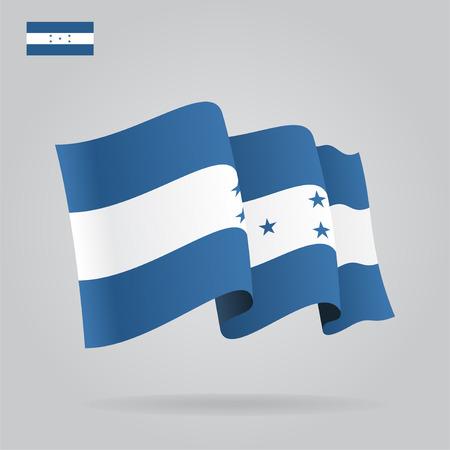 bandera honduras: Planas y agitar la bandera de Honduras. Vector