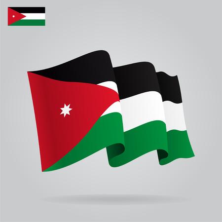 jordanian: Vlakke en golvende Vlag van Jordanië. Vector