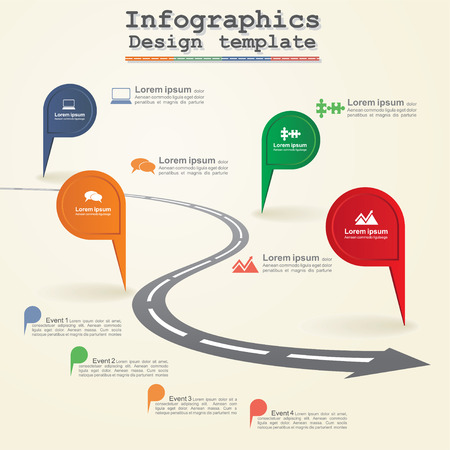 Road infographic timeline element layout. Vector Vector