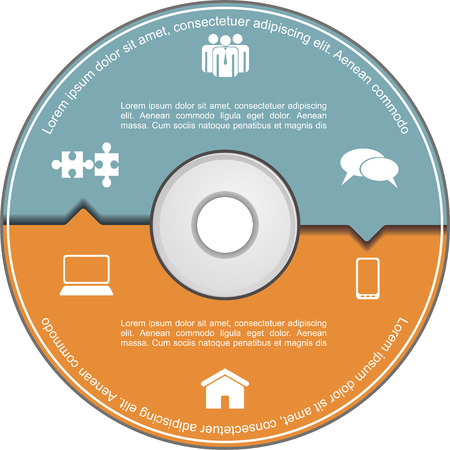 compact disk: Infographics template with compact disk. Vector
