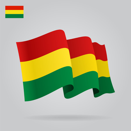 Background with waving Bolivian Flag. Vector Vector