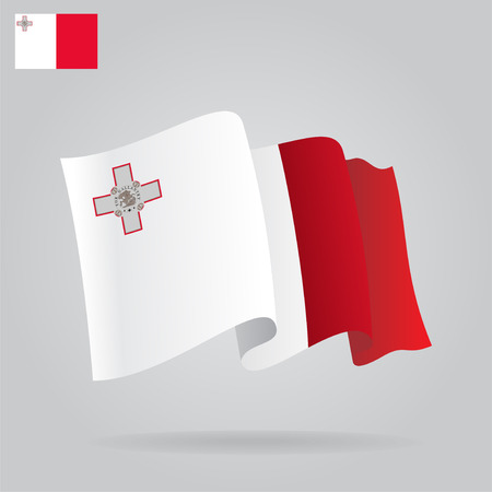 malta: Achtergrond met golvende Vlag van Malta. Vector