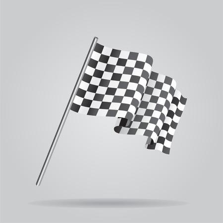 Waving Checkered racing flag. Vector Vector