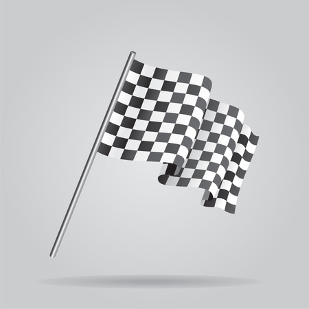 racing checkered flag crossed: Waving Checkered racing flag. Vector