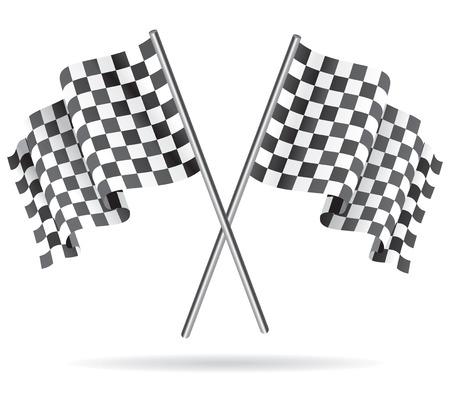 bandera carrera: Agitando Bandera a cuadros de carreras. Ilustraci�n del vector.