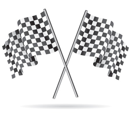 racing checkered flag crossed: Waving Checkered racing flag. Vector illustration.