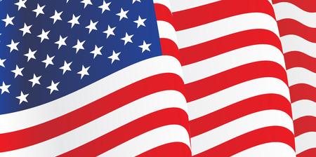 amerikalılar: Amerikan Bayrağı sallayarak ile Arkaplan. Vektör Çizim