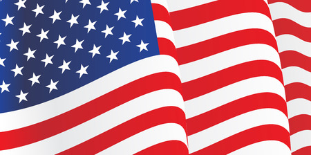 Background with waving American Flag. Vector