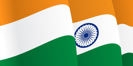 Background with waving Indian Flag. Vector Vector