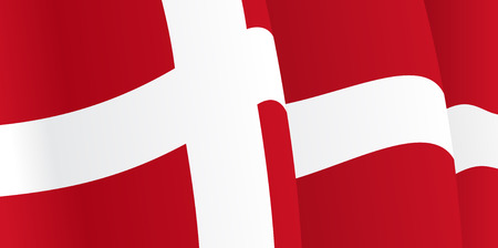 danish flag: Background with waving Danish Flag. Vector Illustration