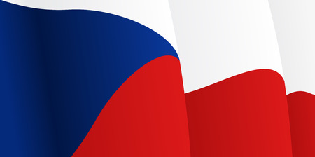 Background with waving Czech Flag. Vector Vector