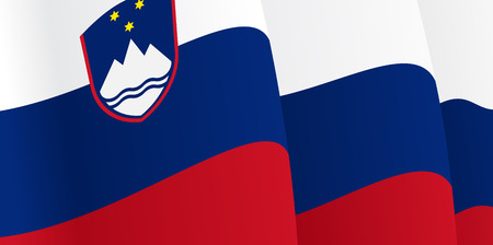 slovenian: Background with waving Slovenian Flag. Vector