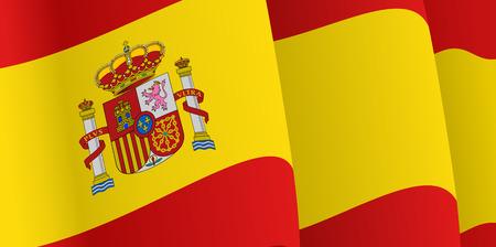 bandiera spagnola: Sfondo con sventolando la bandiera spagnola. Vettore
