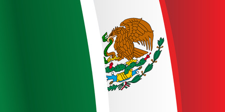 mexico flag: Background with waving Mexico Flag. Vector Illustration