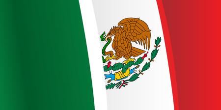 bandera mexico: Fondo con ondeando la bandera de M�xico. Vector