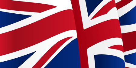 bandera de gran breta�a: Fondo con ondeando la bandera de Gran Breta�a. Vector
