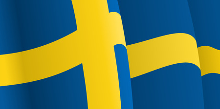 Background with waving Swedish Flag. Vector Vector
