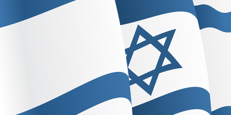 Background with waving Israeli Flag. Vector Vector