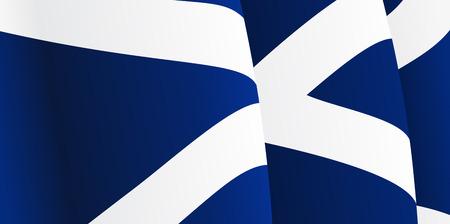 scottish flag: Sfondo con sventolando la bandiera scozzese. Vettore