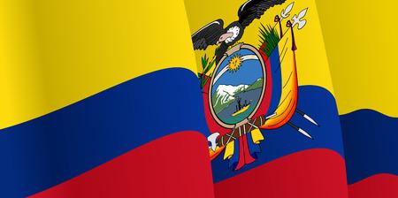 ecuadorian: Background with waving Ecuadorian Flag. Vector