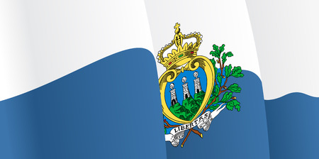 marino: Background with waving San Marino Flag. Vector