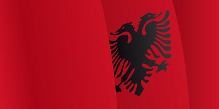 albanian: Background with waving Albanian Flag. Vector Illustration