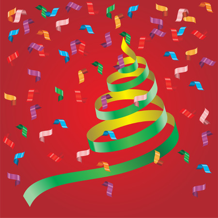 party streamers: Shiny streamers or party serpentine. Vector Illustration