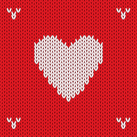 Christmas Knitted background with heart. Vector Vector