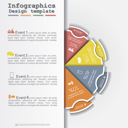 Modern business Infographics circle layout. Vector Vettoriali