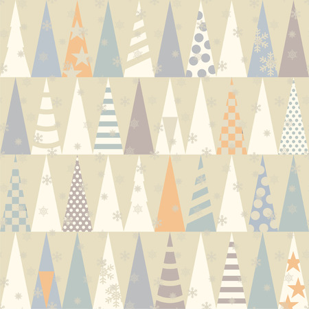 Seamless pattern with Christmas trees.  Vector