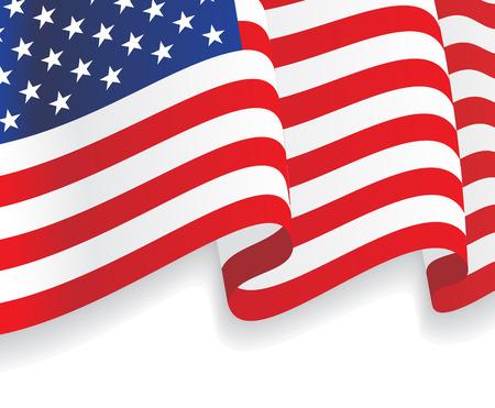 banderas america: Fondo con ondeando la bandera americana. Vector