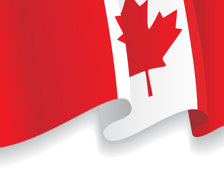 canadian flag: Background with waving Canadian Flag. Vector