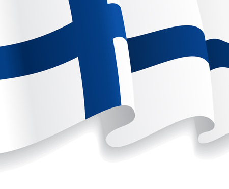 finnish: Background with waving Finnish Flag. Vector
