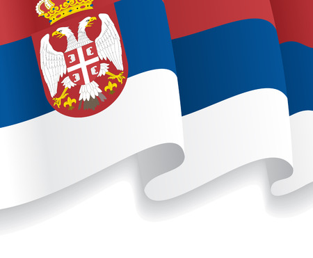 Background with waving Serbian Flag. Vector Vector