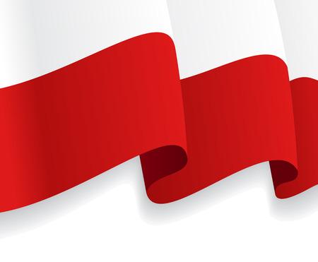 bandera de polonia: Fondo con la bandera ondeando polaco. Vector Vectores