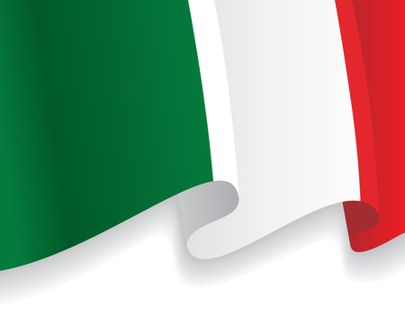 Background with waving Italian Flag. Vector Çizim