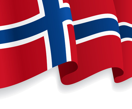 norwegian flag: Background with waving Norwegian Flag. Vector