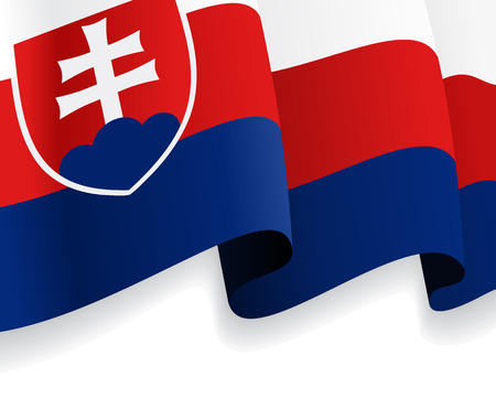 Background with waving Slovak Flag. Vector