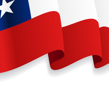 chile flag: Background with waving Chile Flag. Vector