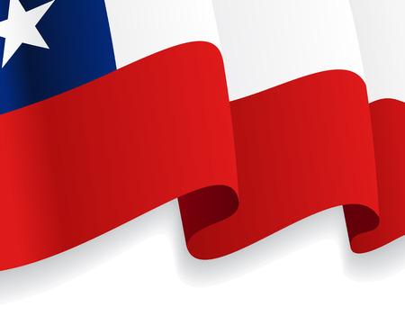 bandera de chile: Fondo con la bandera ondeando Chile. Vector