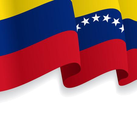 venezuelan: Fondo con la bandera ondeando Venezolana. Vector