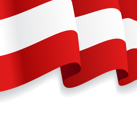 Background with waving Austria Flag. Vector