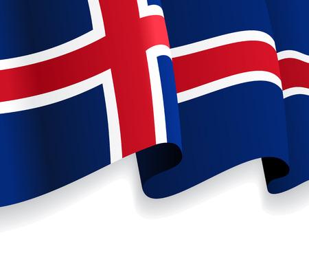 icelandic flag: Fondo con la bandera ondeando island�s. Vector