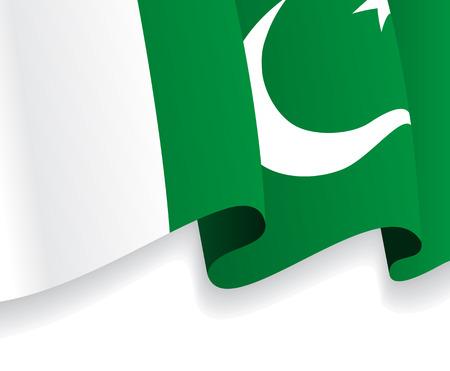 pakistani: Background with waving Pakistani Flag. Vector Illustration